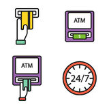 ATM pos-terminal with hand credit card icons payment transfer mobile service and automatic terminal money currency cash Royalty Free Stock Photo