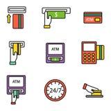 ATM-pos-terminal met van de de pictogrammenbetaling van de handcreditcard de de overdracht mobiele dienst en het automatische ein stock illustratie