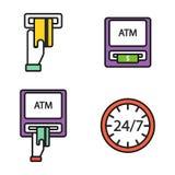 ATM-pos-terminal met van de de pictogrammenbetaling van de handcreditcard de de overdracht mobiele dienst en het automatische ein vector illustratie