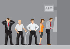 ATM Queue Cartoon Vector Illustration Royalty Free Stock Photography