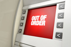 ATM Screen Out Of Order Royalty Free Stock Photo