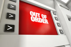 ATM Screen Out Of Order Royalty Free Stock Photography