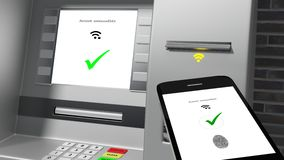 ATM seans weryfikował tożsamość łączącą telefon komórkowy Obrazy Stock