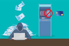Atm skimming hacker steal data from atm card. Vector graphic illustration Royalty Free Stock Image