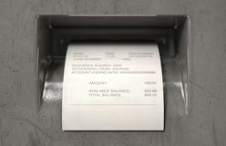 ATM Slip Withdrawel Receipt royalty free stock photography