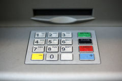 ATM-Tastaturblocknahaufnahme Stockfotos