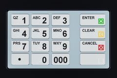 ATM-Tastaturnahaufnahme, 3D Lizenzfreie Stockfotos