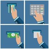 ATM terminal użycie Zapłata przez terminal Dostawać pieniądze od ATM karty również zwrócić corel ilustracji wektora Obrazy Stock