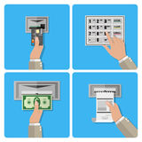 ATM terminal usage concept Royalty Free Stock Photo