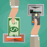 ATM terminal usage concept Royalty Free Stock Images
