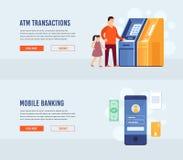 ATM terminal usage. Mobile Banking. royalty free illustration