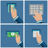 ATM terminal usage. Payment through the terminal. Getting money from an ATM card. Vector illustration Stock Images