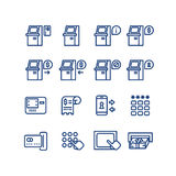 Atm terminal vector thin line icons set. Money and banking service, finance payment transaction illustration Stock Photos