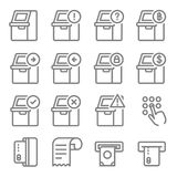 Atm icon set. automated teller machine icons collection. Atm terminal vector thin line icons set. Money and banking service, finance payment transaction Stock Photos