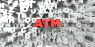 ATM - Texto vermelho no fundo da tipografia - 3D rendeu a imagem conservada em estoque livre dos direitos Fotos de Stock Royalty Free
