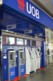 ATM of United Overseas Bank in Singapore Stock Photos