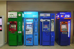 ATM units by different Thai banks Royalty Free Stock Image