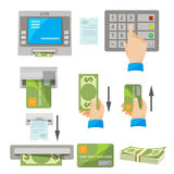 ATM usage concept set with money and credit card Stock Photography