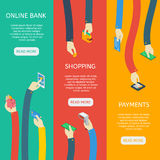 ATM Usage Isometric Vertical Banners. With hands financial objects online bank shopping payments vector illustration royalty free illustration