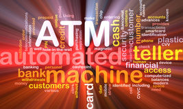 ATM word cloud box package. Software package box Word cloud concept illustration ATM Automated Teller Machine Stock Image