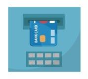 ATM z bank karty ikoną, płaski projekt, odizolowywający na białym tle Wektorowa ilustracja, klamerki sztuka Obrazy Royalty Free