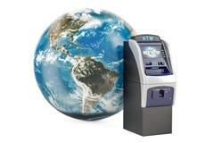 ATM z Ziemską kulą ziemską, globalny bankowości usługa pojęcie 3d Zdjęcia Stock