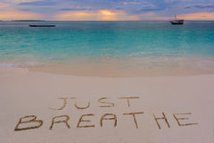Atmen Sie einfach Zeichen Stockfoto