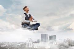 Atmen Sie tief ein und entspannen Sie sich Stockbild