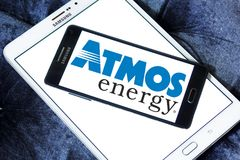 Atmos Energy logo. Logo of Atmos Energy on samsung mobile. Atmos Energy Corporation, headquartered in Dallas, Texas, is one of the United States` largest natural Stock Image
