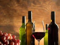 Atmosfär för vinavsmakning i en vinodlingkällare med ett exponeringsglas av rött vin- och vinflaskor Royaltyfria Foton