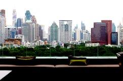 Atmosfär huvudstaden, annan vinkel i Bangkok Arkivbild