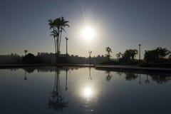 Atmosfäriskt för panorama- scenisk natur för soluppgånghimmelsolljus utomhus- arkivbilder