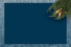 Atmosfeer van de de kaart de blauwe winter van de Kerstmisgroet royalty-vrije illustratie