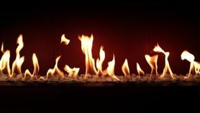 Atmosfera adorabile affascinante che soddisfa vicino su sul carbone che brucia lento con la fiamma arancio del fuoco in camino ac video d archivio