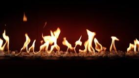 Atmosfera bonita impressionante que satisfaz perto acima no carvão vegetal que queima-se lento com a chama alaranjada do fogo na  video estoque