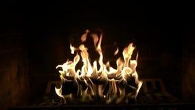 Atmosfera confortável bonita maravilhosa que satisfaz perto acima da opinião de movimento lento na chama de madeira do fogo que q filme