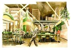 atmosfera del giardino della birra dell'acquerello Fotografie Stock Libere da Diritti