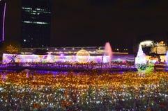 Atmosfera della visita del viaggiatore nel festival 2017 di illuminazione della Tailandia Immagine Stock