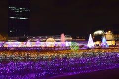 Atmosfera della visita del viaggiatore nel festival 2017 di illuminazione della Tailandia Immagini Stock Libere da Diritti