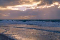 Atmosfera di sera al Mare del Nord Fotografia Stock