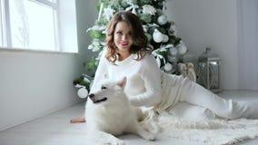 A atmosfera do ano novo, jovem mulher levanta com o cão branco na atmosfera acolhedor na árvore de Natal próximo decorada do phot filme