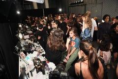 Atmosfera geral de bastidores antes do desfile de moda 2017 de Anna Sui Spring Fotografia de Stock