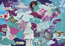 Atmosfera spokoju nastroju deski kolażu prześcieradła koloru aqua, błękit, purpury i menchie, Fotografia Stock