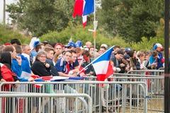 Atmosphäre des Fußballfans in einer Fanzone während des Schlusses von Lizenzfreies Stockbild