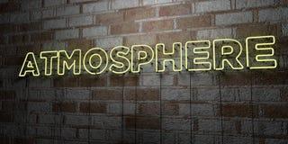 ATMOSPHÄRE - Glühende Leuchtreklame auf Steinmetzarbeitwand - 3D übertrug freie Illustration der Abgabe auf Lager vektor abbildung