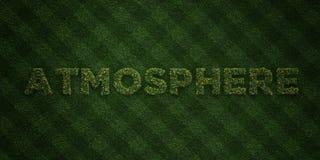 ATMOSPHÄRE - neue Grasbuchstaben mit Blumen und Löwenzahn - 3D übertrug freies Archivbild der Abgabe lizenzfreie abbildung