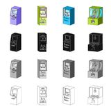 Atmosphère, paiement en ligne, terminal pour des billets d'avion, machine à sous Différents types d'icônes de collection d'ensemb Images stock
