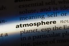 Atmosphere. Word in a dictionary.  concept Stock Photos