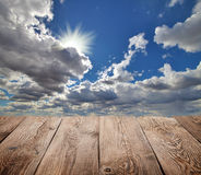 Atmosphere background. Sky and clouds with wooden board Stock Photo
