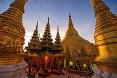 Atmosphere of dawn at Shwedagon pagoda in Yagon, Myanmar Royalty Free Stock Photography